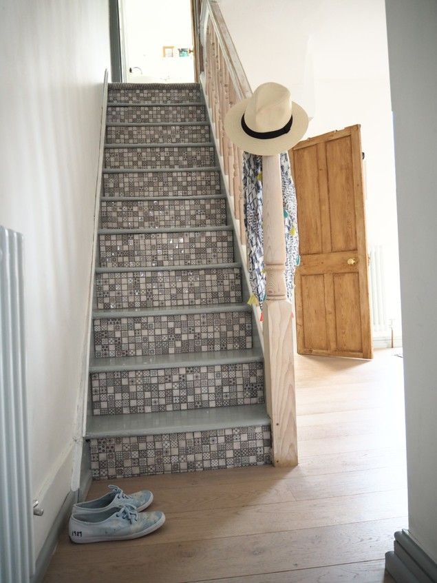 How to vamp up your stair case by tiling the risers of your staircase with mosaic tiles by Blogger and interior stylist Maxine Brady