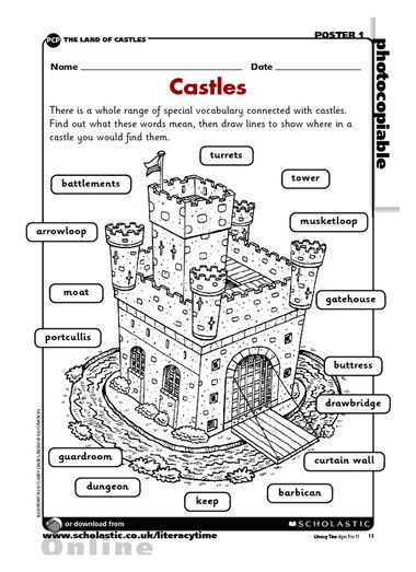 castle worksheet activity