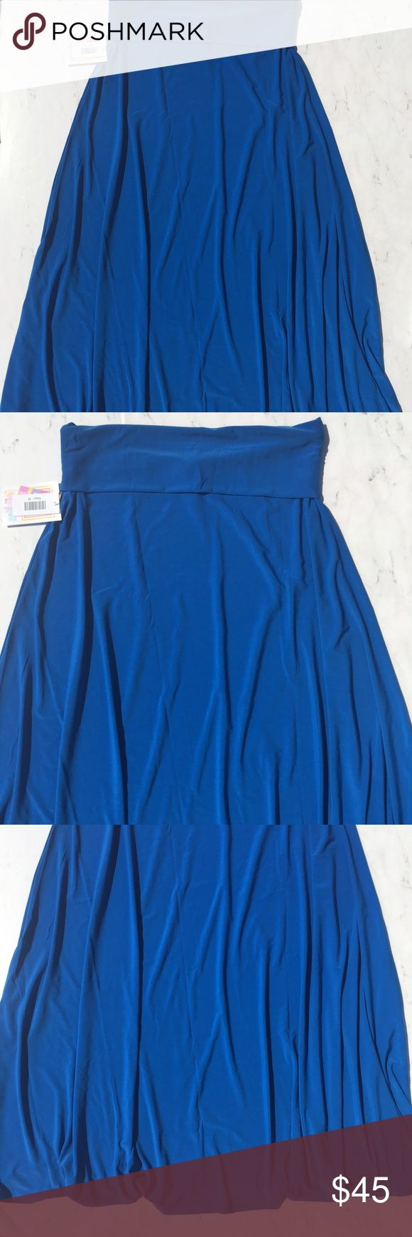New LulaRoe Maxi Skirt Size Medium Blue This is a LuLaRoe Maxi Skirt • Size: Medium • Color: Blue • New With Tags MSRP $52 • Stretch • A-line and long skirt • Waist be folded down or not • Very versatile skirt • Machine wash • Made in Vietnam • RN# 142161 • LuLaRoe Skirts Maxi