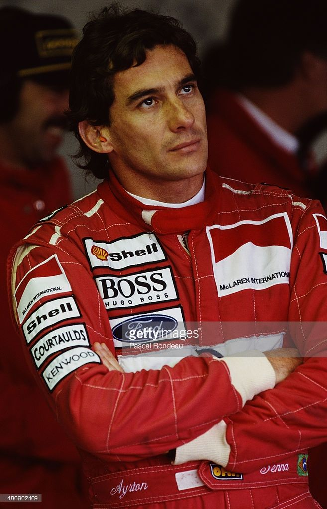Ayrton Senna of Brazi, driver of the #8 Marlboro McLaren McLaren MP4/8 Ford HBE7 V8 during practice for the British Grand Prix on 10th July 1993 at the Silverstone Circuit in Towcester, Great Britain.