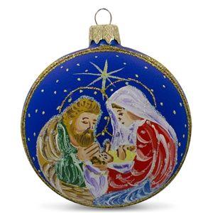 Nativity at Night Glass Ball Religious Christmas Ornament Holiday Gift Idea