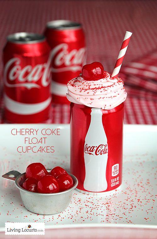 Cherry Coke Float Chocolate Cupcakes in Coca-Cola Cans. Such a cute party recipe idea! LivingLocurto.com