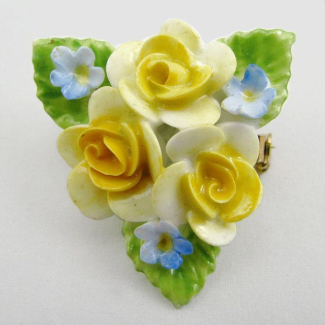 Coalport English China Yellow Roses Brooch Pin
