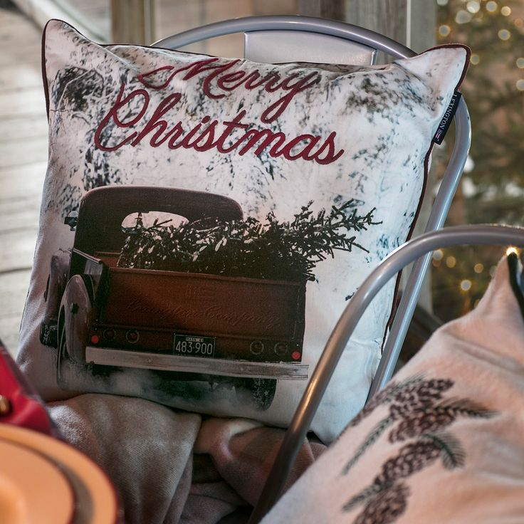 Add a cheerful burst of holiday nostalgia to your home with our vintage style photo print car sham, detailed with contrast piping and embroidery for an extra touch of quality and that special holiday spirit.