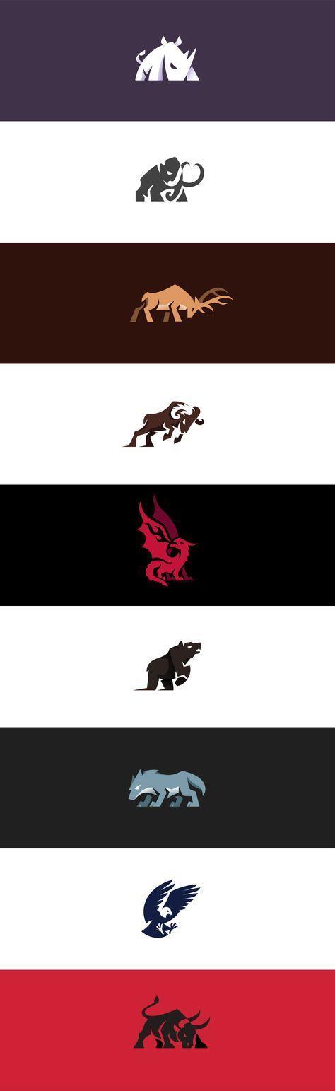 Aggressive and charging animal logos I made