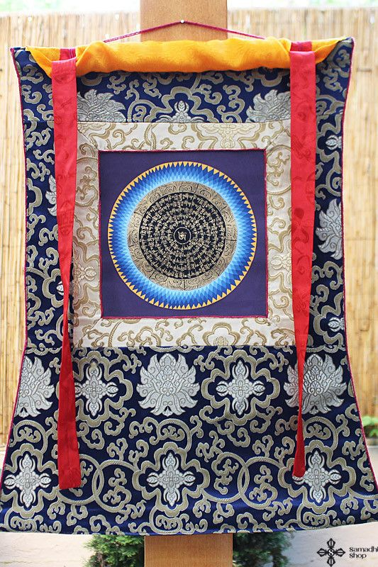 Perfect Buddhist Mandala Thangka with Om Mani Padme Hum mantra