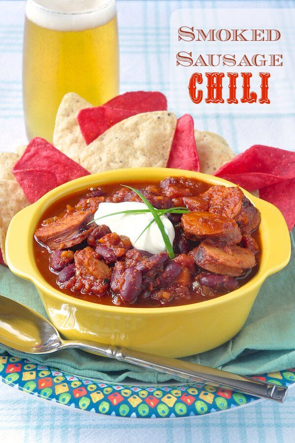 Smoked Sausage Chili - simple, smoky and delicious; forget the ground beef, using smoked sausage instead is my new favourite way to make a hearty chili.