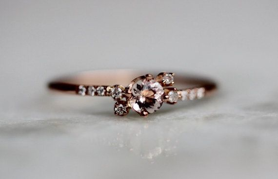 14k anello Morganite Cluster spianare diamante pietra rosa
