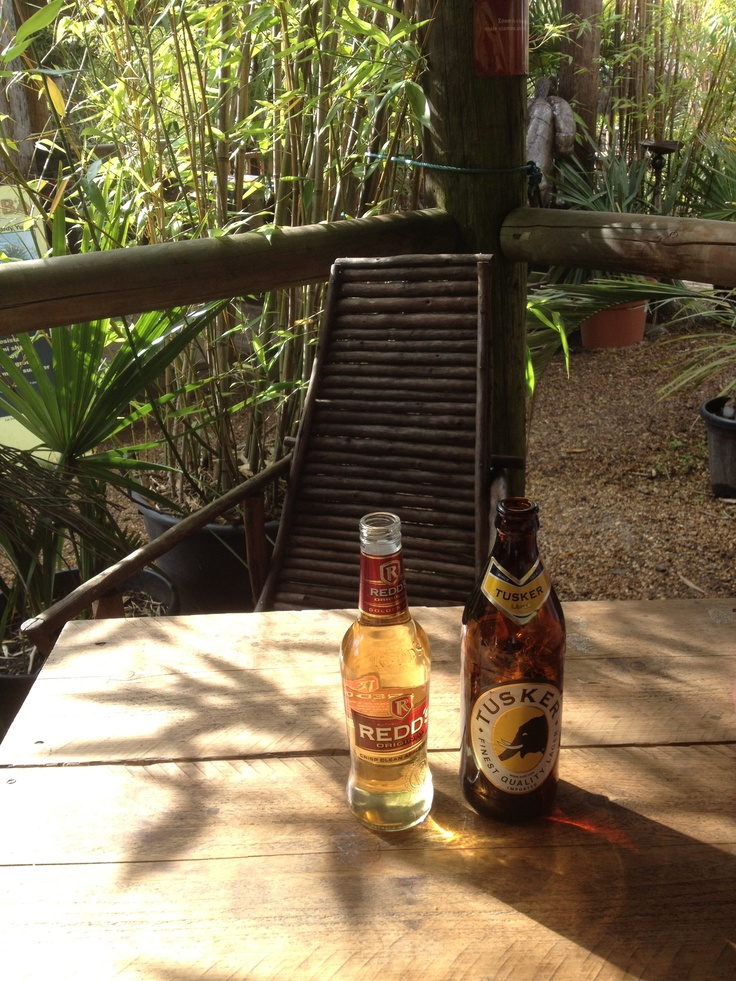 African snakebite, Redds cider and Tusker lager - Akamba, Dickens Heath
