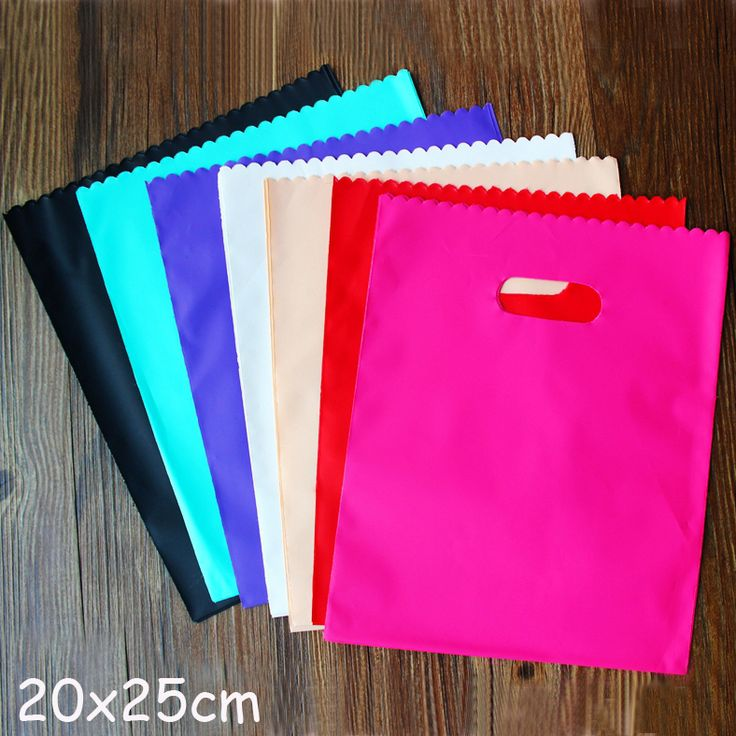 Colorful Plastic Gift Bags, Plastic Shopping Bags 20X25Cm 100Pcs/Lot