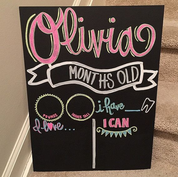 Hand Painted Custom Monthly/ Weekly Chalkboard 15x20 Reusable Sign for Baby or Pregnancy- Shower Gift, Photo Prop, Update Stats Pics