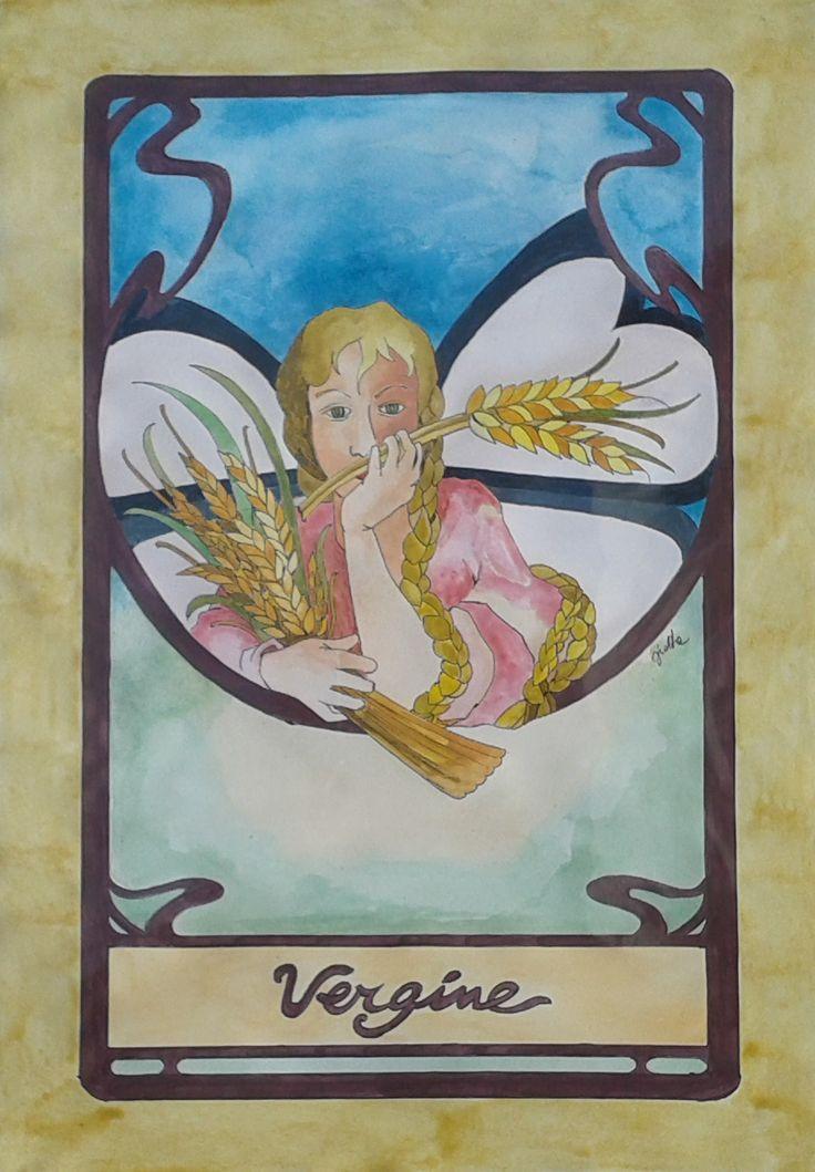 Dipinto eseguito a mano acrilico acquerellato su carta soggetto segno zodiacale VERGINE formato 30 cm x 42 cm. Tecnica: Penna, Acrilico e Acquerello.