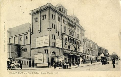 Streetscape showing the Grand Music Hall at Clapham Junction, London, circa 1905 - The Theatres Trust