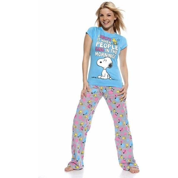 Snoopy, Snoopy pyjamas, Snoopy Pjs, Peanuts Joe Cool, Snoopy pajamas,... ($32) ❤ liked on Polyvore featuring intimates, sleepwear, pajamas, comic book, long pajamas and cartoon pajamas