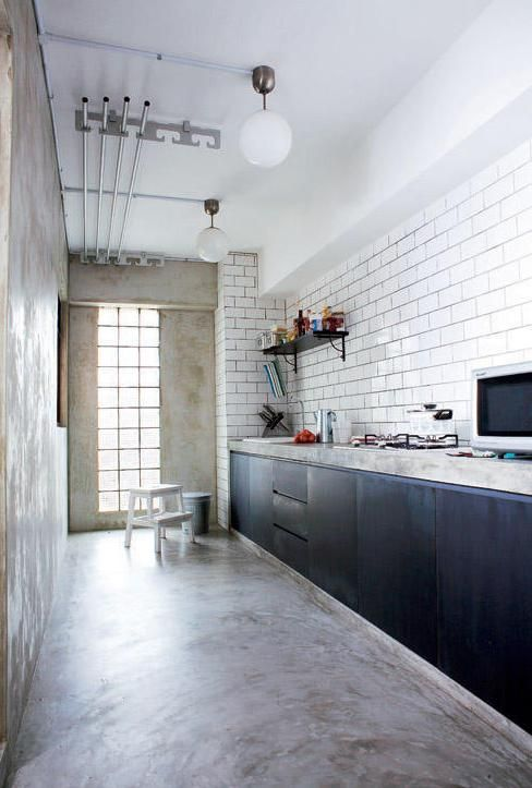 Cement floor with cement kitchen top