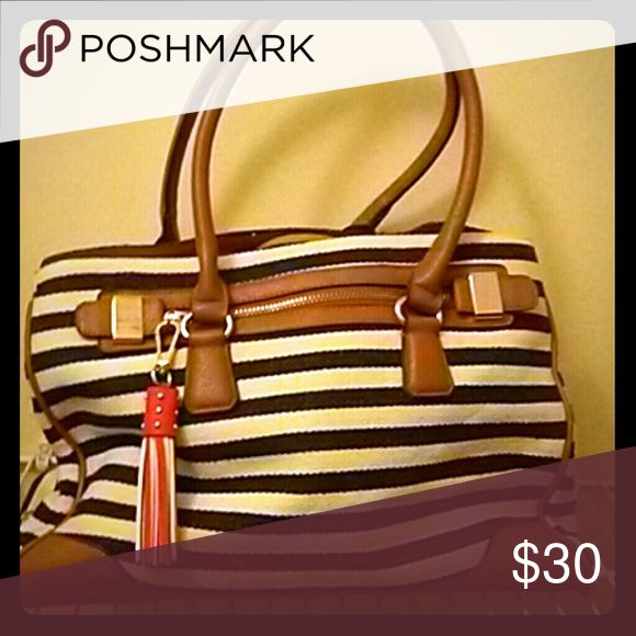 Aldo tote bag Navy stripes & white with light brown leather. And red hanging tassle. Aldo Bags Totes