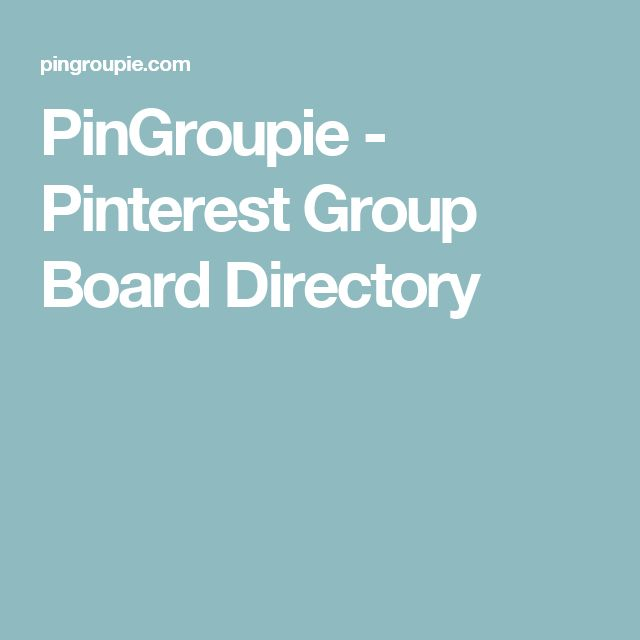 PinGroupie - Pinterest Group Board Directory