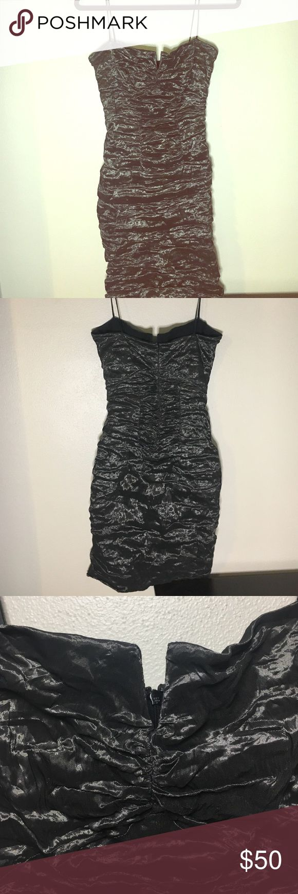 Nicole Miller Techno Metal cocktail dress Dark charcoal grey Nicole Miller little grey dress. This dress runs small. It's labeled size 10 but fits more like a 4-6.  Excellent condition. Worn once. Nicole Miller Dresses Mini