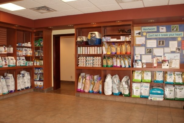 a view of our reception area, here you can see a variety of products available for you and your pets