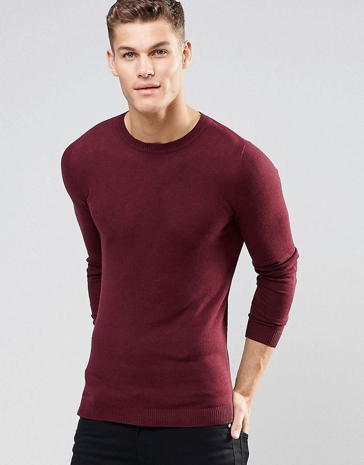Image 1 ofASOS Muscle Fit Crew Neck Jumper in Burgundy Cotton
