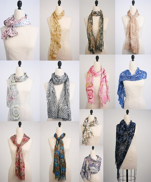 Different ways of tying a scarf