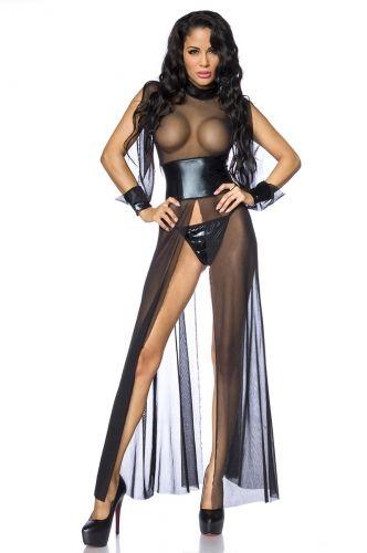 Chemise Geisha Lunga Vestaglia Velata Nera con Collare e Fascia in Vita in Tessuto WetLook Metallico