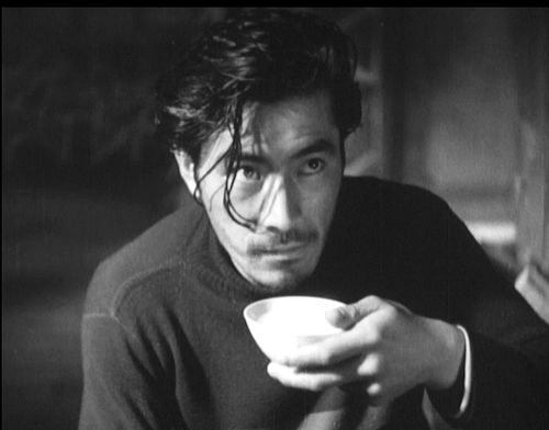 Toshiro Mifune in his first film Snow Trail (Akira Kurosawa, 1947) Japanese title: Ginrei no hate