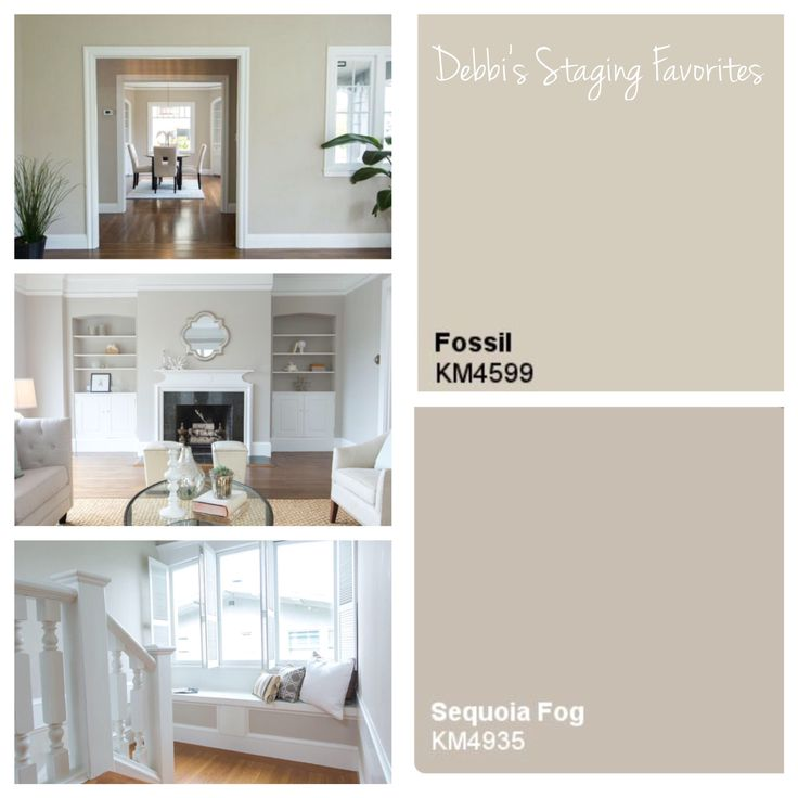 Interior paint colors frequently used in the homes we sell: Kelly Moore Fossil. Kelly Moore Sequoia Fog and Benjamin Moore White Dove. Take Note: always test a color sample on each wall you are considering. Light will vary from room to room. Once I was testing a color in one of our listings and had to keep halving the formula until I finally realized the home was too dark so we ended up painting the entire home my other favorite color, White Dove. Also used as the trim color in the photos…