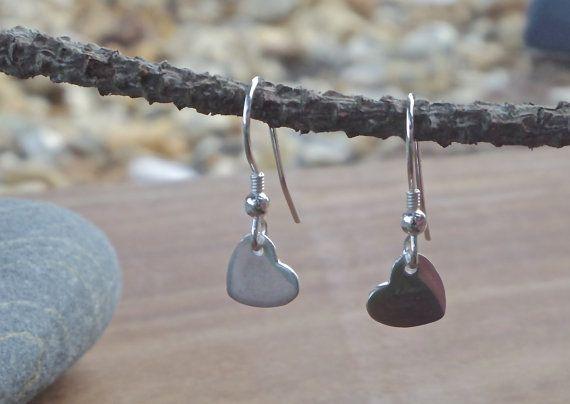 Silver Heart Earrings fine silver by MeltSilver on Etsy