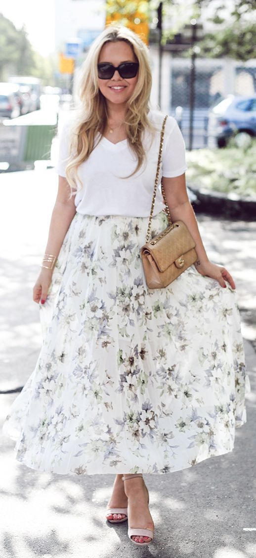 Floral Midi Skirt Outfit Idea by Cath In The City