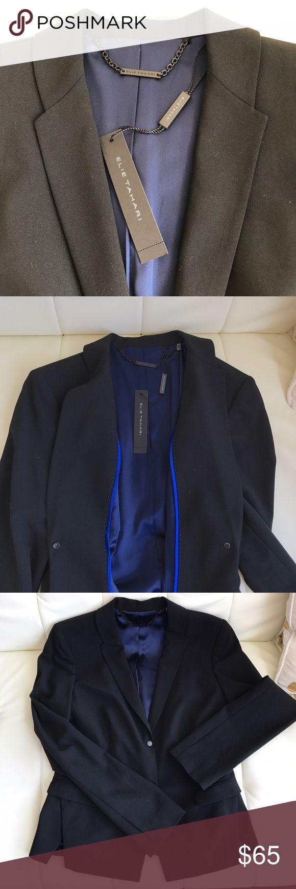 Elie Tahari women's suit jacket blazer Women's black suit jacket. Virgin wool shell. Navy lining. Elie Tahari Jackets & Coats Blazers