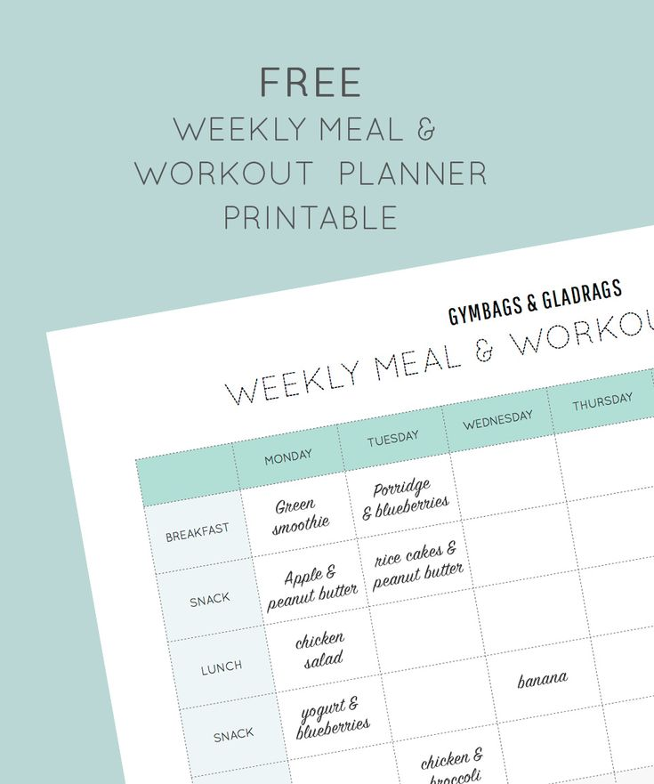 Free Meal and Workout Planner