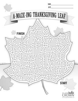 Check out this free Thanksgiving themed maze  for the kiddos! Download it for free over at TpT.   –ClassCrown™ Originals.