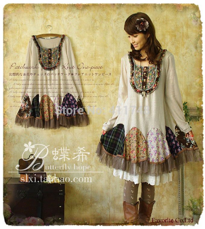 Harajuku-Japanese-Mori-style-knitted-dress-peacock-patchwork-lolita-girl-winter-faldas-long-sleeve-cotton-novelty.jpg (680×760)
