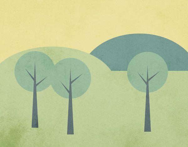 How To Create a Simple Landscape Scene in Illustrator - #trees Vector landscape scene on spoongraphics
