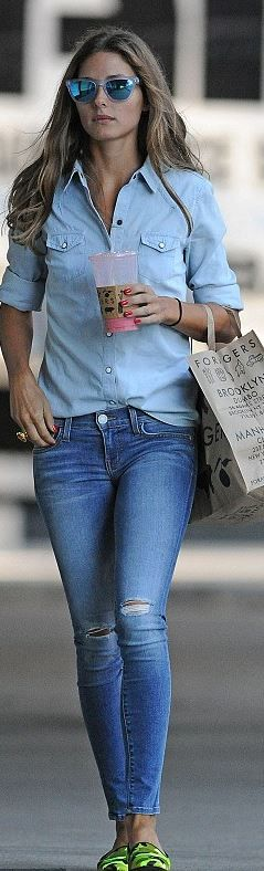 Olivia Palermo: Sunglasses – Westward Leaning  Shirt – 7 for Mankind  Jeans – Rebecca Minkoff  Shoes – Pretty Ballerinas