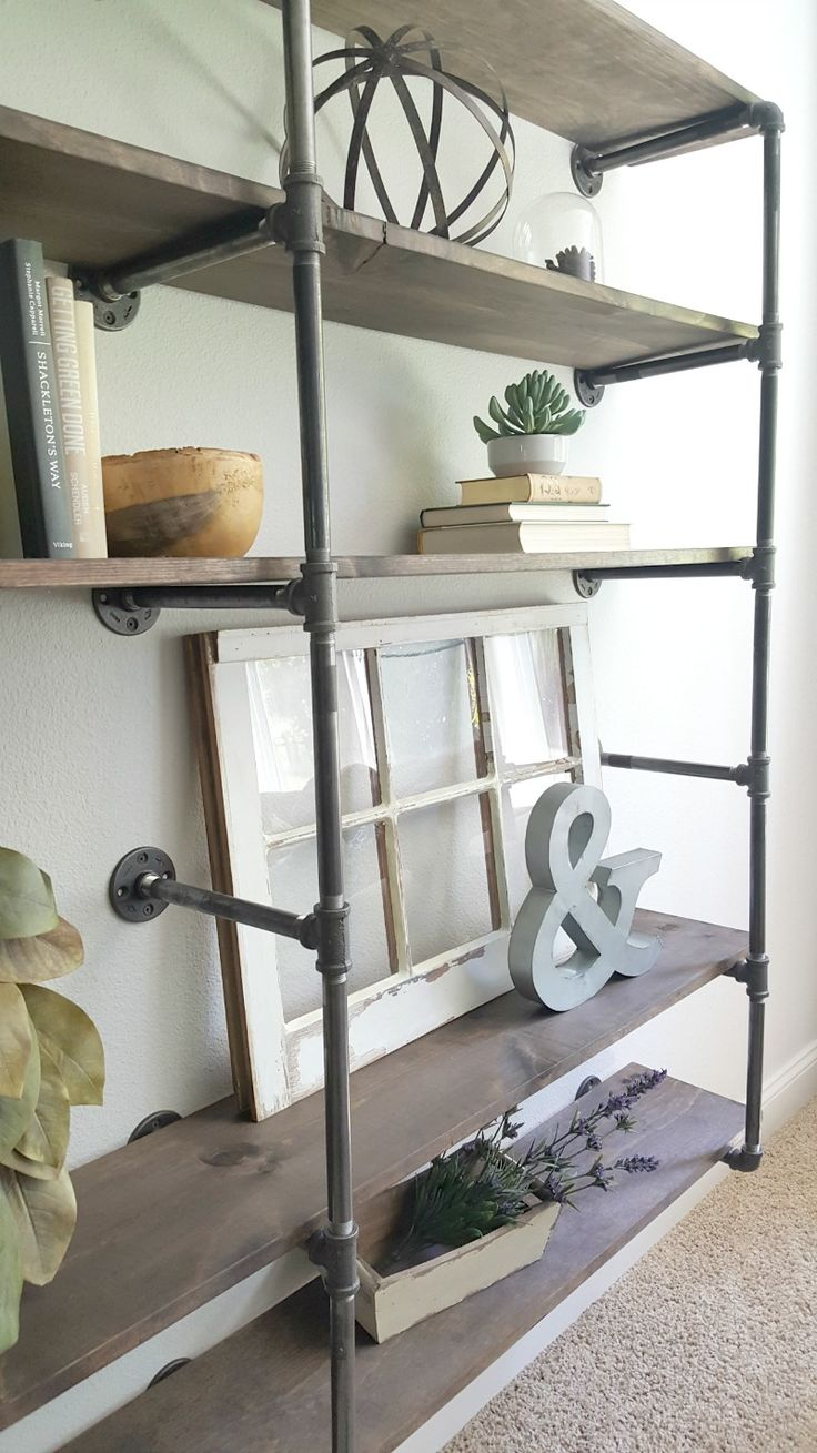 DIY Industrial Pipe Shelves - farmhouse meets urban rustic style