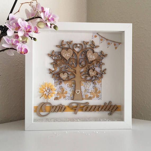 Personalised Gift Family Tree Frame Handmade Present for