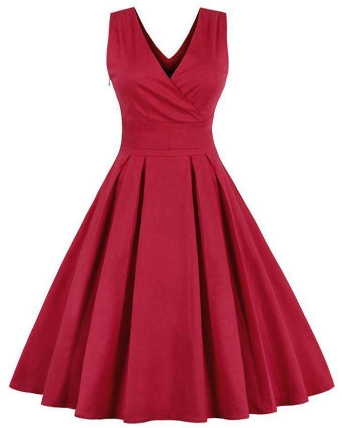 ZAFUL V-neck Pleated Dress with Bowknot Belt - Red | Buy online | Jumia Kenya