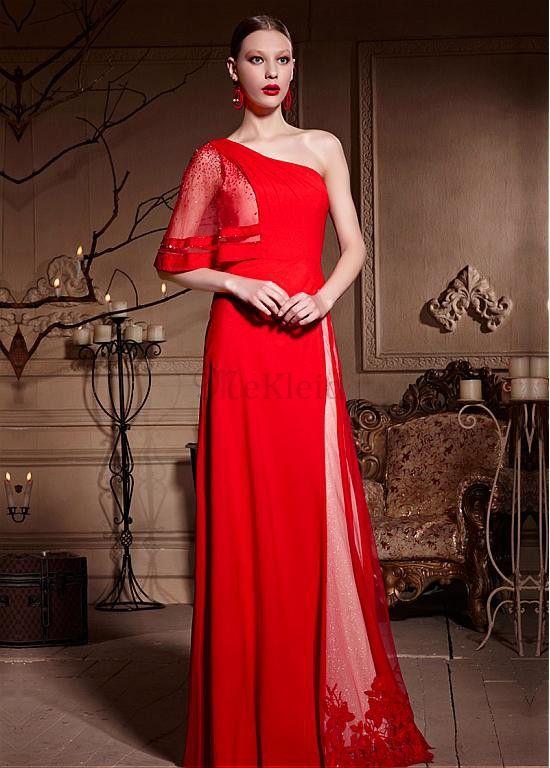 Vintage Tüllkleid Ein Schulter Bodenlang Abendkleid - Bild 1