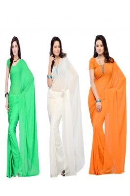 Cheer up your freedom day by looking graceful in these three Tricoloured Georgette Sarees #womensarees #independencedayoffers #tringaasarees #womenfashions #plainsarees #onlinesarees #womensareesonline Shop now-  https://trendybharat.com/offer-zone/offer-alert/independence-day-sale/pack-of-three-tricoloured-georgette-sarees-vmc-001