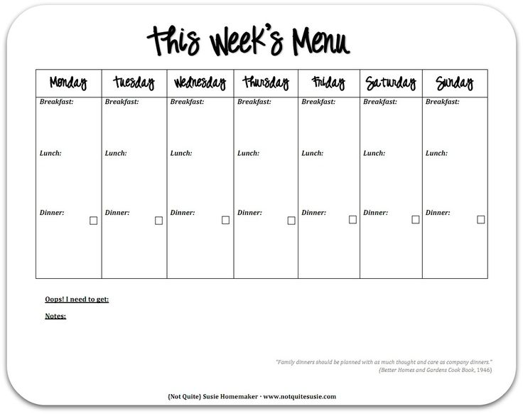 Weekly Menu Template With Snacks Resume Corner