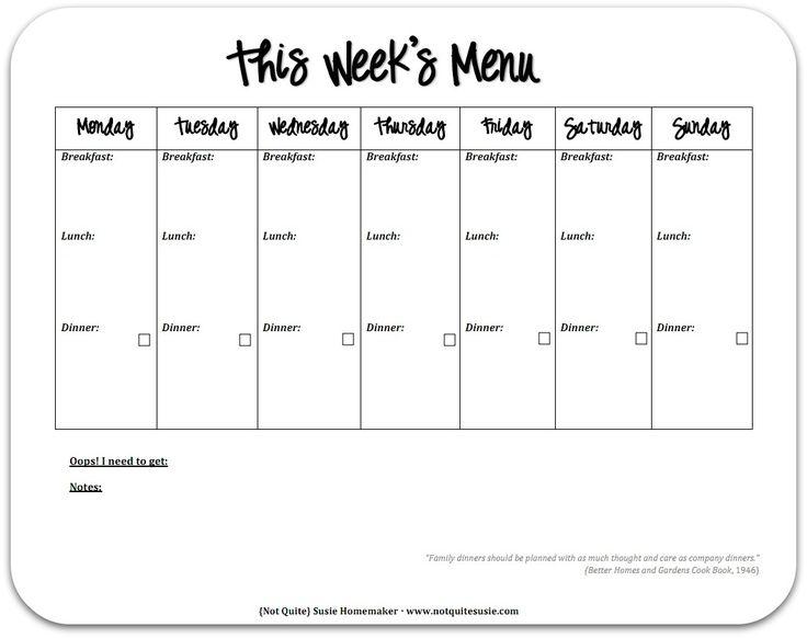 menu planner template free printable - Amitdhull - free weekly calendar