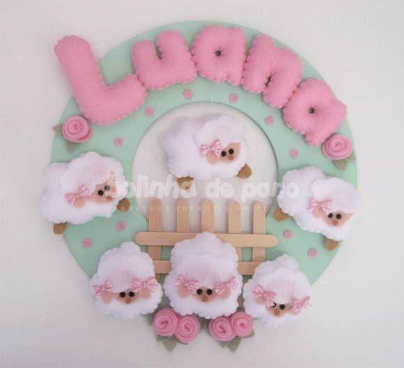 Enfeite Porta Maternidade Ovelhas Rosa | Bolinha de Pano | 2CC59D - Elo7