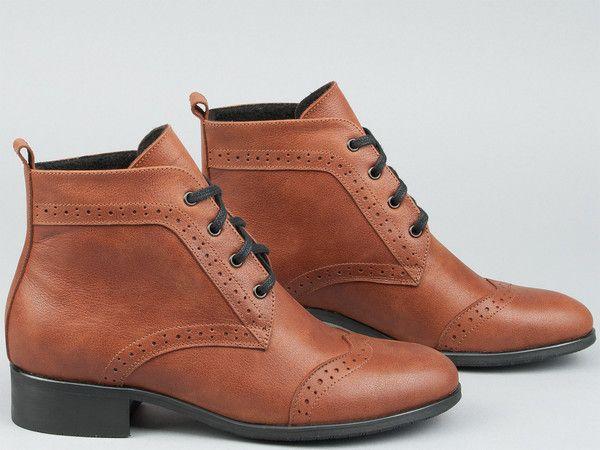 Brazowe Botki Boots Dress Shoes Men Oxford Shoes