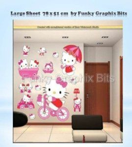 KIDS WALL STICKERS, LARGE HELLO KITTY, GIRLS BEDROOM WALL STICKERS, BEDROOM DECOR: Amazon.co.uk: Kitchen  Home