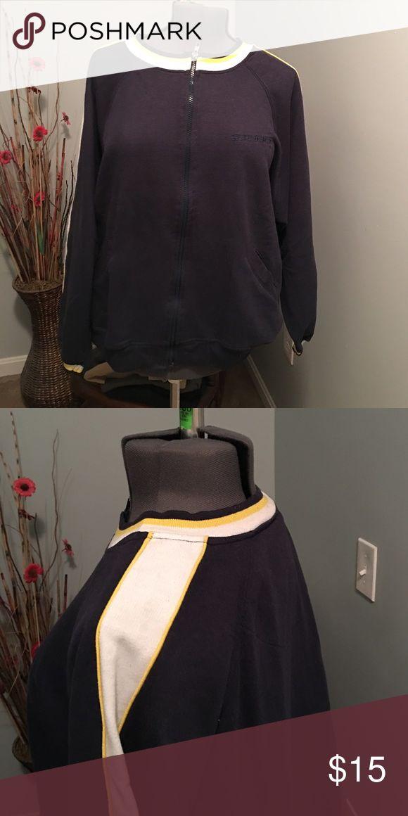 Navy Zip Up Sweatshirt Venezia Venezia Tops Sweatshirts & Hoodies