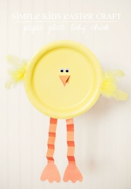 Simple kids craft: paper plate baby chick