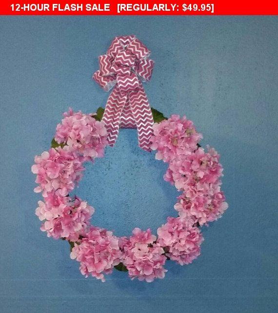 Hydrangea Wreath, Floral Wall Decor, Newborn Hospital Door Hanger, Baby shower decor, Custom Nursery decoration, floral front door wreath
