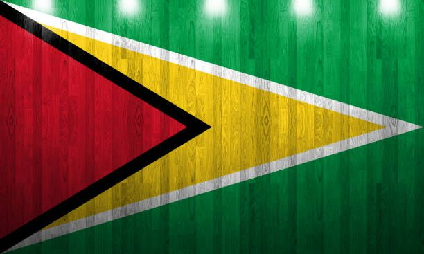 guyana flag painted on old wood plank texture